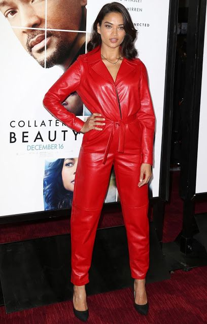 Celebrities In Leather: Shanina Shaik wears a red leather jumpsuit