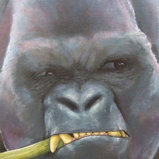 Gorilla 3 (verkocht) | detail van schilderij | Ambacht en Design