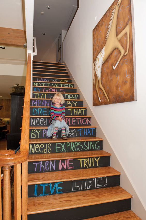 Chalkboard Stairs - one of 12 unique chalkboard ideas eclecticallyvintage.com. How. Awesome.