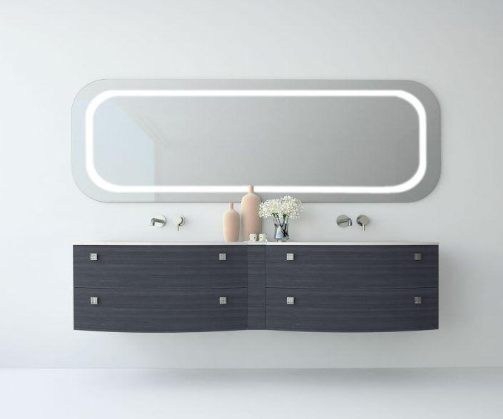 Muebles de baño a medida. Ejemplo de acabados en madera natural, laminados, lacas brillo o mate, etc. unibaño-compactos-acabados-18