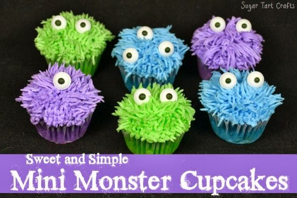Sweet and Simple Mini Monster Cupcakes