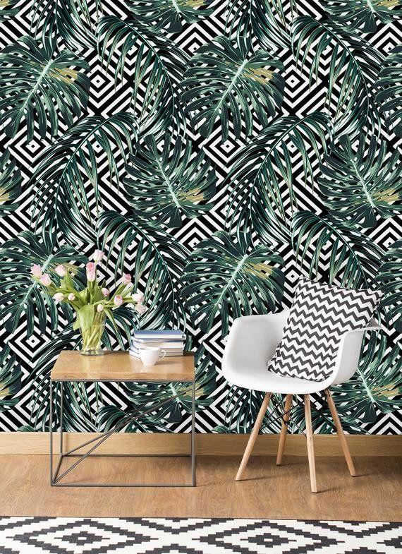Norwalk Removable Tropical Palm Leave 10 L X 25 W Peel And Stick Wallpaper Roll Peel And Stick Wallpaper Wallpaper Roll Removable Wallpaper