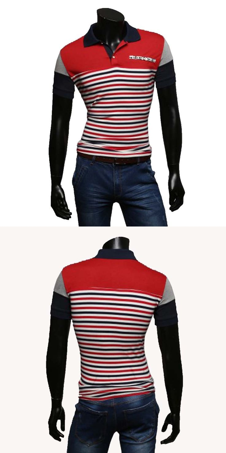 Summer 2016 Men's short sleeve Slim lapel popular men's casual striped Polo Shirt yp006