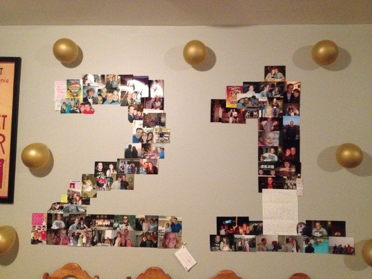 I made this photo collage for my husband 39 s 21st birthday for Room decor ideas for husband birthday