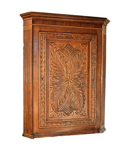 19th Century English Oak Corner Cabinet. A useful, simple antique .  get it 24/7/365 at thecuriousorangestore.com