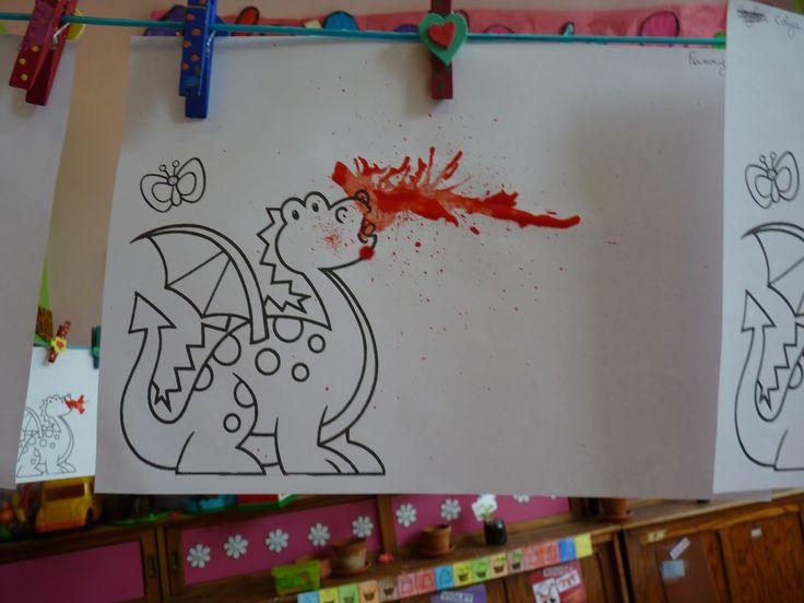 Peinture à la paille, faire cracher du feu au dragon !
