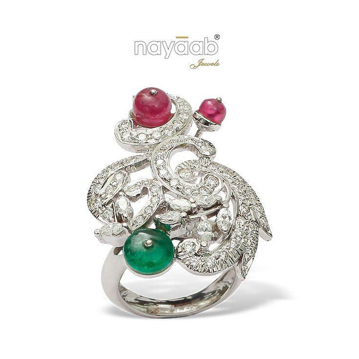 Fusion of style and tradition! #Ruby #Emerald #Ring #EngagementRings #BridalJewelry #Nayaab #Luxury #Royal #Beautiful #Diamonds #DiamondJewelry