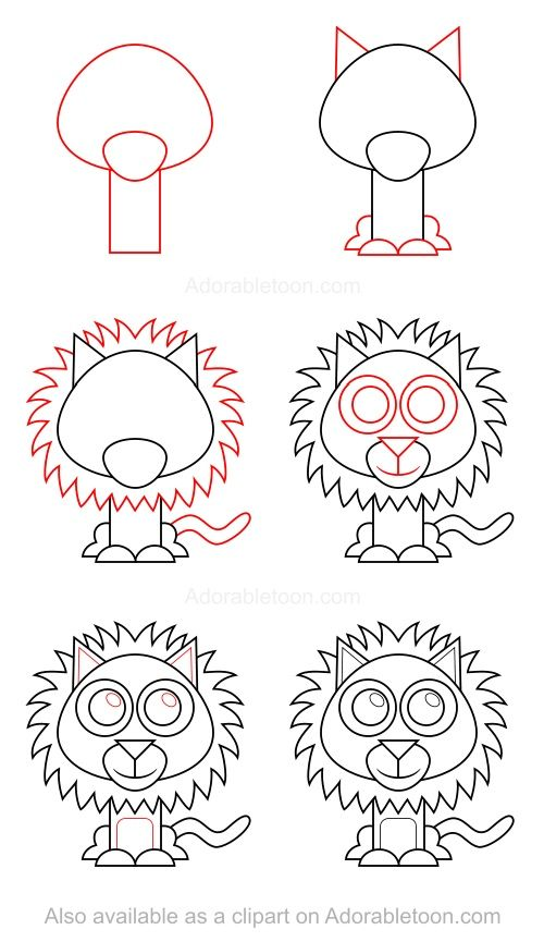 Les 25 meilleures id es de la cat gorie comment dessiner - Comment dessiner un lion ...