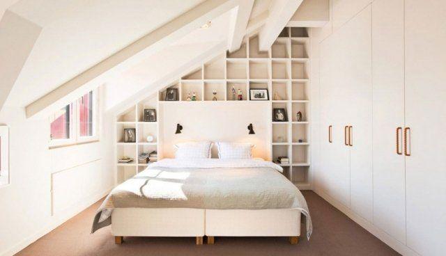 ce qu 39 on aime dans cette chambre sous comble c 39 est la t te de lit trait e comme une. Black Bedroom Furniture Sets. Home Design Ideas