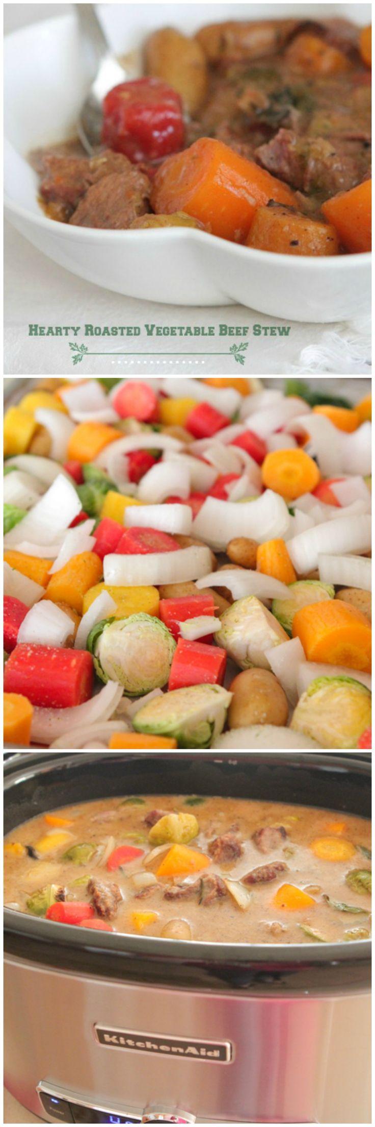 Hearty Roasted Vegetable Beef Stew! Comfort food in a bowl :) .#recetas #dietas y mucho mas en nuestra página web echale un vistazo