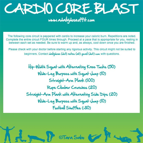 A Daily Dose of Fit: Workout Week: Cardio Core Blast: Favorite Workout, Abs Workout, Cardio Colors, Fit Health, Fit Me Fit, Blast Fitfluenti, Fit Challenges, Workout Stuff, Workout Weeks