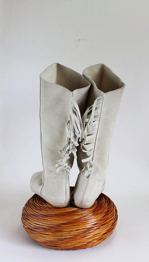Sale  1970s Cream Suede Fringe Flat Boots Boho by gogovintage, $46.00