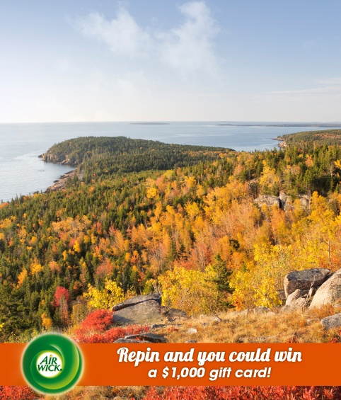 #Autumn brings colorful #fall foliage to #Acadia National Park. Visit link for sweepstakes information: https://www.airwick.us/repin_to_win.php