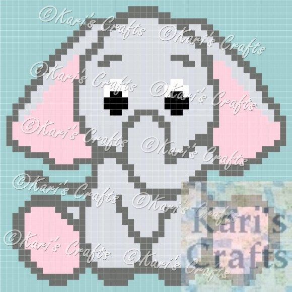 Baby Elephant C2C Corner to Corner Afghan Blanket PDF Pattern GRAPH ONLY - Instant Download by KarisCrafts on Etsy