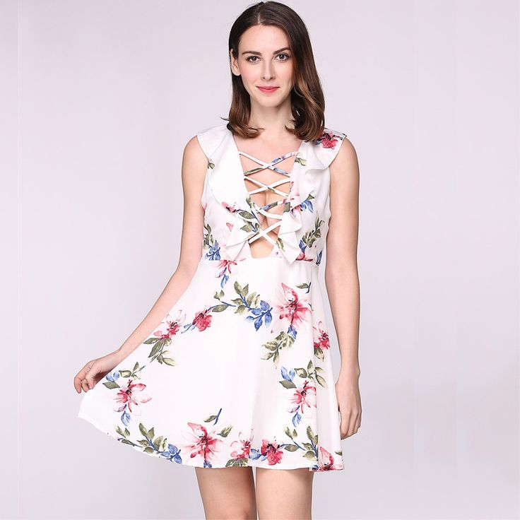 2017 Women Lace Up V Neck Sleeveless Ruffles Floral Skater Going Out Dress
