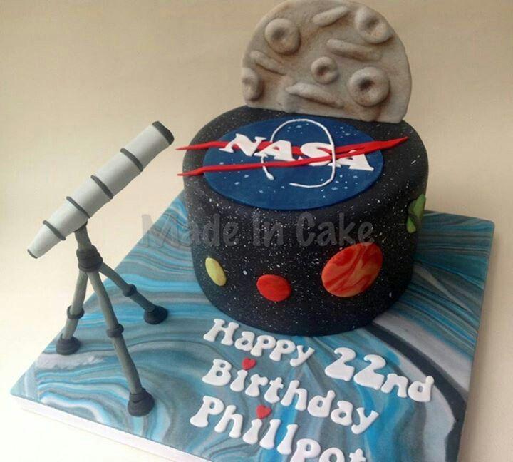 Nasa With A Telescope Cake Happy Birthday Nasa Outer