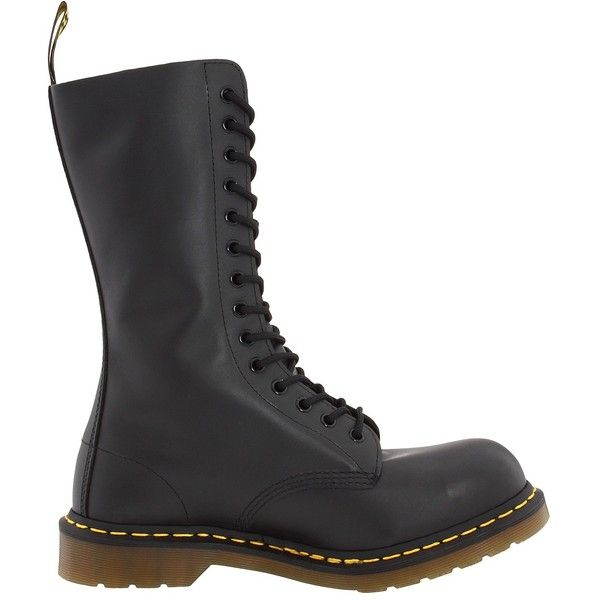 Dr. Martens 1940 (Black Fine Haircell) Work Lace-up Boots ($65) ❤ liked on Polyvore featuring shoes, boots, cap toe boots, black laced boots, black slip resistant shoes, lace up boots and steel toe cap boots