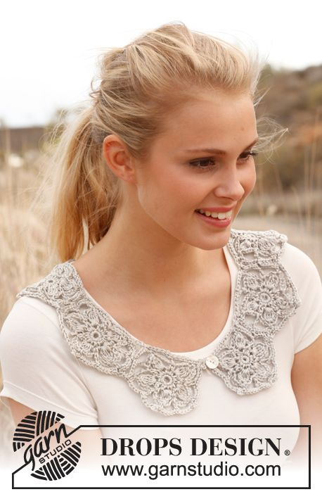 "Crochet DROPS collar with pentagons in ""Cotton Viscose"". ~ DROPS Design"