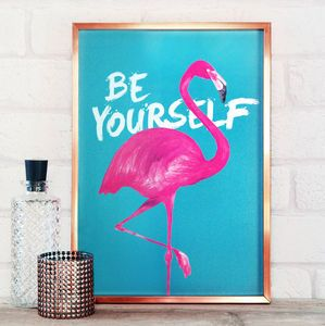 Be Yourself Flamingo Print - living room