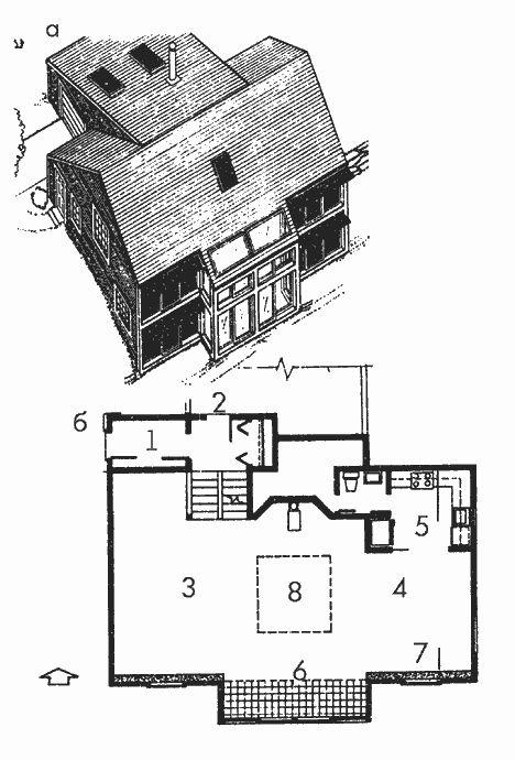 Солнечный дом. Рис. 1. Компактный жилой дом для холодного климата (Массачусетс): а - общий вид с южной стороны; б - план 1-го этажа; 1 - тамбур; 2 - вход в гараж; 3 - гостиная; 4 - столовая; 5 - кухня; 6 - теплица; 7 - стена Тромба; 8 - отверстие в перекрытии.