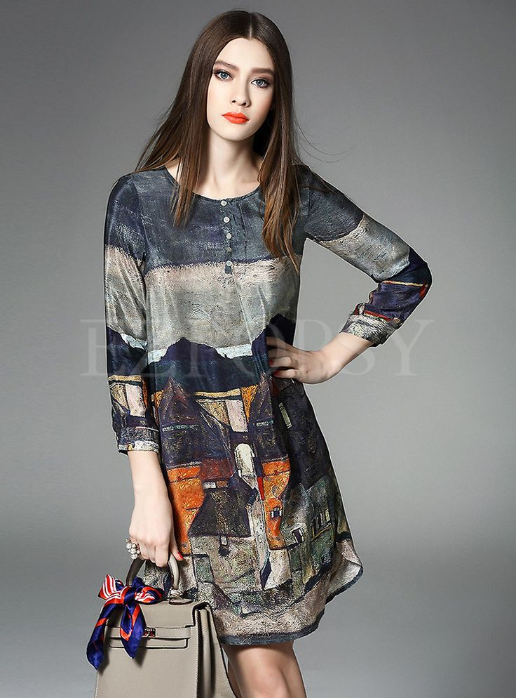 Landscape Print Patch Silk Dress
