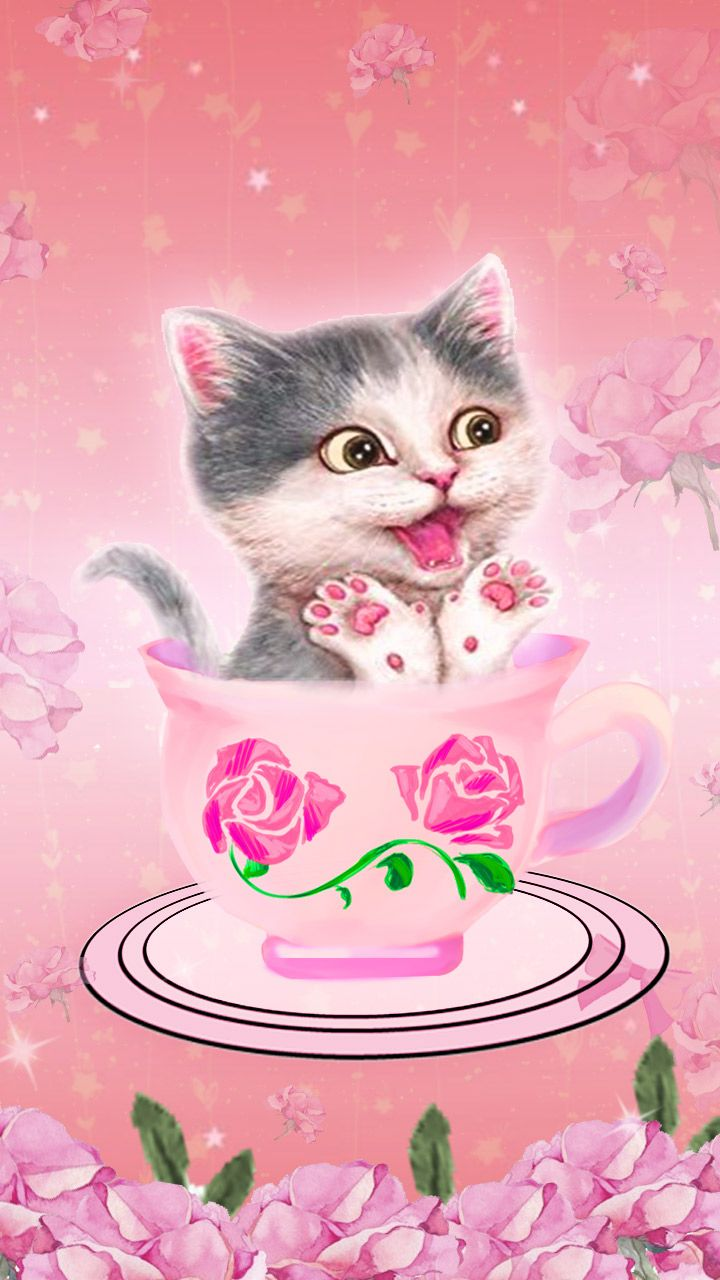 Kitty In A Cup Pink Cute Kitty Wallpaper Art Pink Roses Wallpaper Wallpaper Paisagem Aplicativos