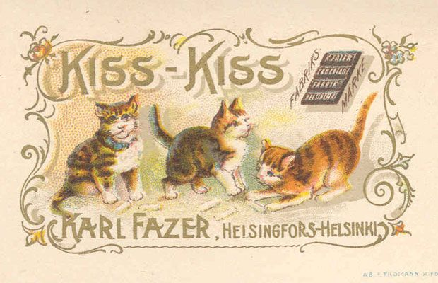 "Fazer ""Kiss-Kiss"" candy - Finnish advertising card (c. 1897)"