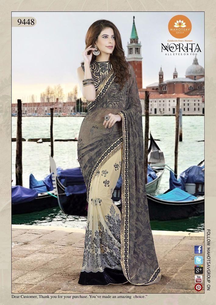 Pakistani Partywear Designer Bollywood Sari Indian Wedding Dress Ethnic Saree #TanishiFashion #DesignerSaree