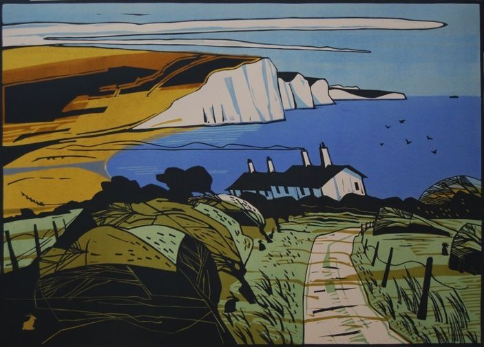 """Seven Sisters"" by Colin Moore (3 block lino print)"