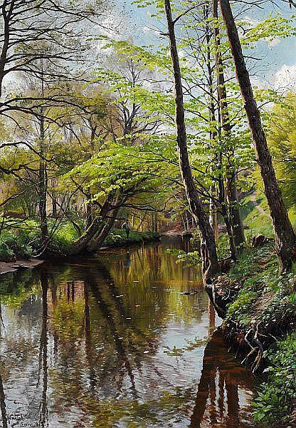 Peder Mønsted: Spring day in the woods. - by Bruun Rasmussen