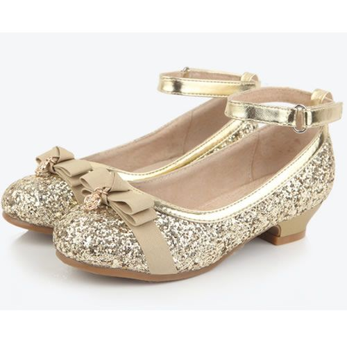 Gold Sequin Ankle Strap Flower Girl Girls Pageant Dress Heels Shoes SKU-133622