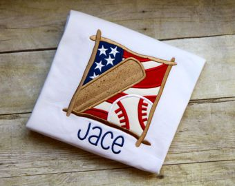 Boy's Embroidered (Includes Monogrammed Name) Baseball Shirt All American Boy Baseball Bat Applique Personalized Children's Monogram Shirt