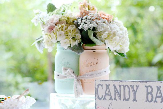 Pièce maîtresse de mariage / décoration / décoration / Mason Jar / Vase / Shabby Chic et rustique
