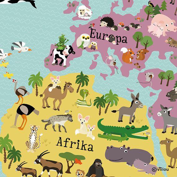 Elegant illustrierte Weltkarte f r Kinder XXL x cm