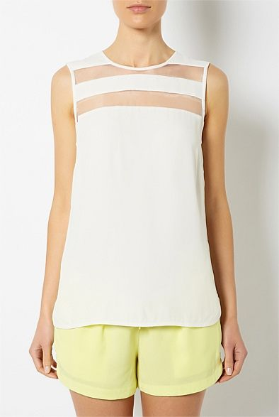 Latest Women's Clothing for Spring & Summer 2013 | Witchery Online - Sheer Panel Yoke Top #witcherywishlist