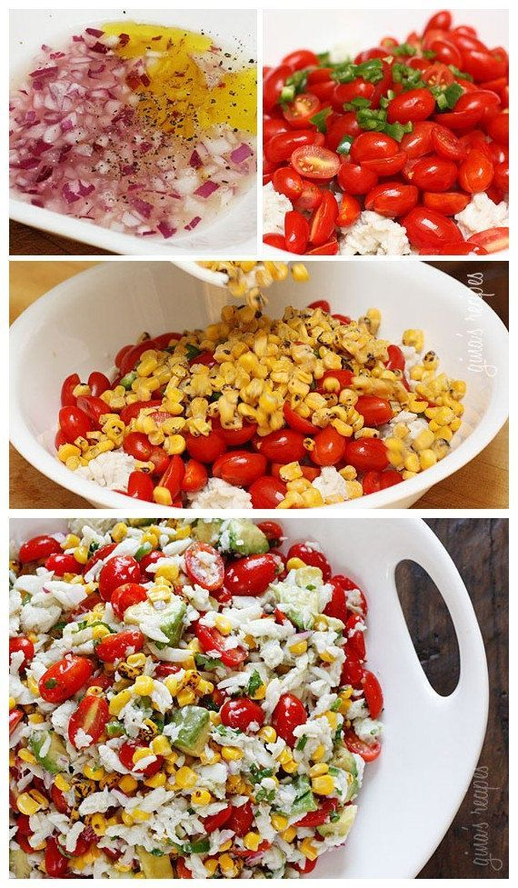 Pescatarians in your midst this season? Win them over with this Summer tomatoes, corn, crab and avocado Salad!