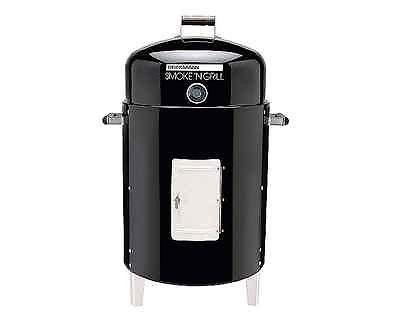 Charcoal Smoker Grill BBQ Brinkmann Slow Cook 50 lbs Black Hinged Chrome Door