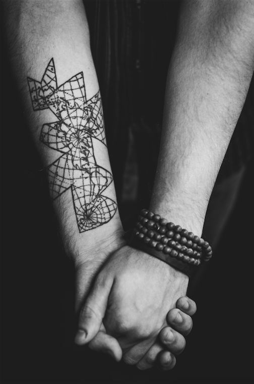 """""""It's Buckminster Fuller's Dymaxion Map – it represents the world in proportion and perspective. To me, it is a constant reminder that the way I perceive things, isn't actually the way things are. Everything, even the way people perceive my tattoo, is warped by perspective."""""""