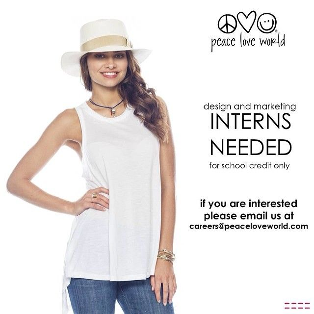 Interested In An Internship In Design Or Marketing Email Us Peaceloveworld Career
