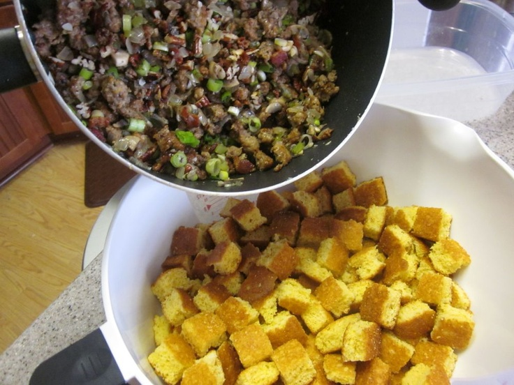 Bacon, Sausage, and Toasted Pecan Cornbread Stuffing
