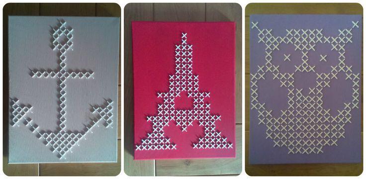 Canvas met tegelkruisjes http://crea-linn.blogspot.nl/2015/01/kruis-steekjes.html