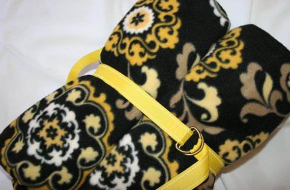 Black and Yellow Medallion Fleece Throw Blanket with Built in Seat Pad and Handle