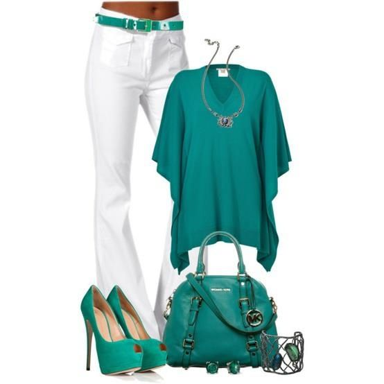 Love the green but switch out the bag or shoes for red or plum