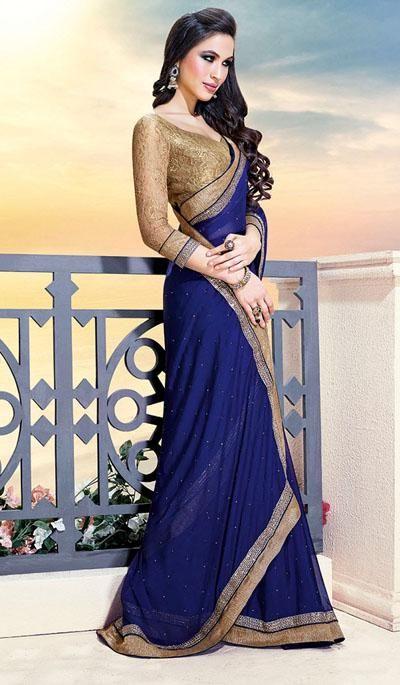 G3 Fashions Jai ho Royal blue chiffon designer saree Product Code: G3-LS15212 Price: INR RS 3307