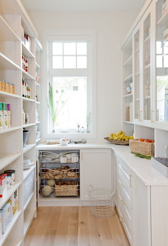 The definition of a butler's pantry: A service room between a kitchen and dining room, typically equipped with counters, a sink, and storage space for china and silver. Typically these days it's a room hidden behind your kitchen to house all the kitchen crap you don't want out on show! I've seen many with and without the...