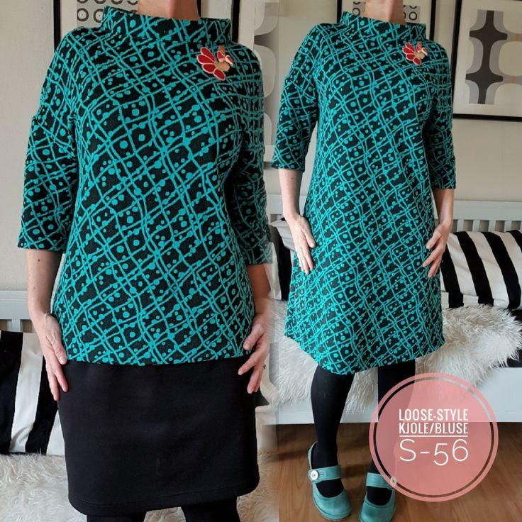 Lækker loosestyle kjole/bluse.....dette er en super god model og er fantastisk til de fleste. Kan syes i flere kvaliteter.....bl.a. vores skønne bomuldsjerseyog vores forskellige viscose kvaliteter. Den kan forlænges til en maxi kjole ...og er også skøn uden ærmer. Dette er et af mine yndlings mønstre. - Maybritt Obs......da det er en loosestyle model, er den til den store side i størrelserne....ønsker du knap så loose, så gå en eller 2 størrelser ned.