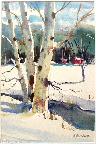 Watercolor Birch Trees Framed Landscape B Gerstner Sale | eBay