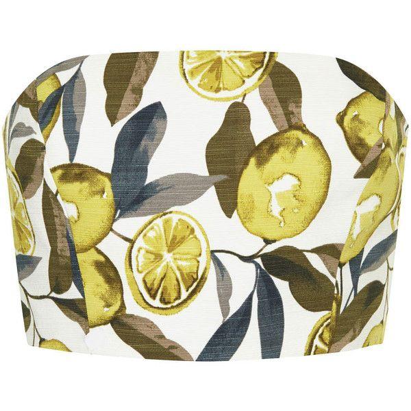 TOPSHOP Petite Lemon Print Bandeau Top ($30) ❤ liked on Polyvore featuring tops, topshop, bandeau, crop top, cream, petite, cream crop top, bandeau crop top and bandeau tops