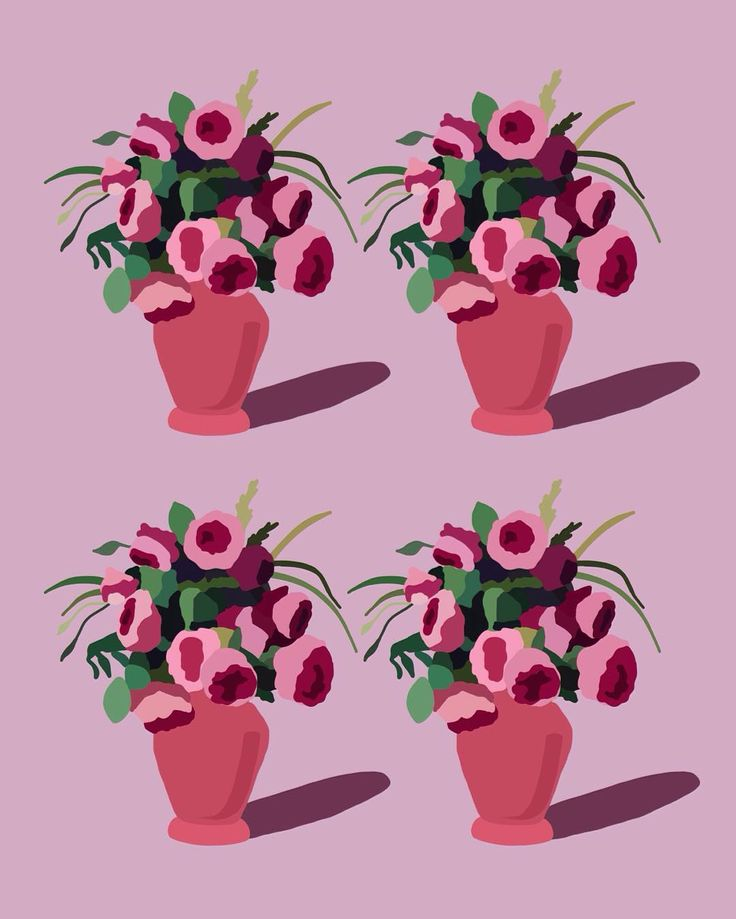 four peach flower pots. #illustration #illustrator #illustrationoftheday #flowerpot #peonies #floralart #botanicalart #flowers #drawing #art #artist #illustrationart #pattern #digitalart #design