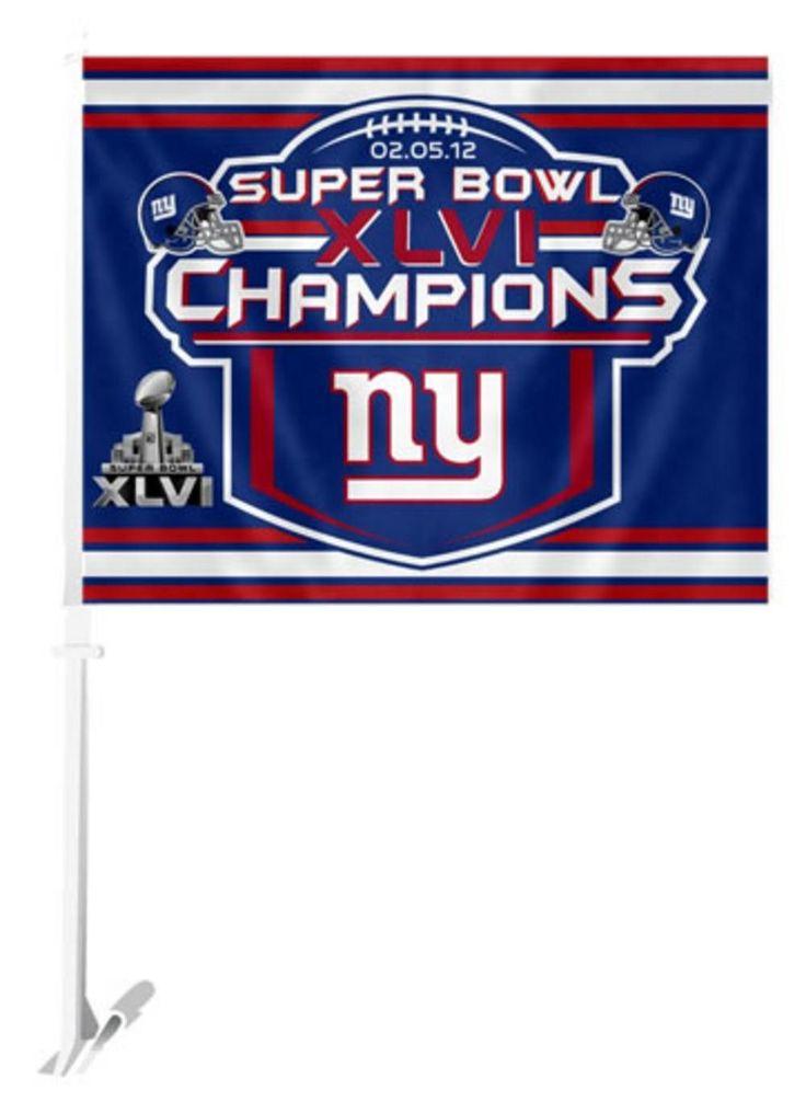 NFL New York Giants Super Bowl XLVI (46) Champs Car Flag